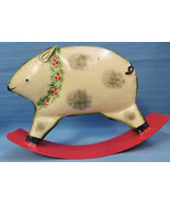 Christmas Decoration Ornament Forside Metal Rocking Pig Hog Italy Red Tan - $24.95