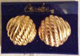 Carolee Large Goldtone Raised Earrings Clip-ons NOC - $31.11
