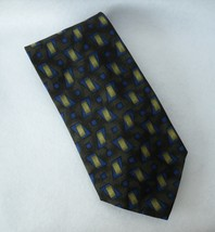 Alfani Green Blue Neck Tie 100% Silk Mid Century Modern Geometric Mens I... - $24.00
