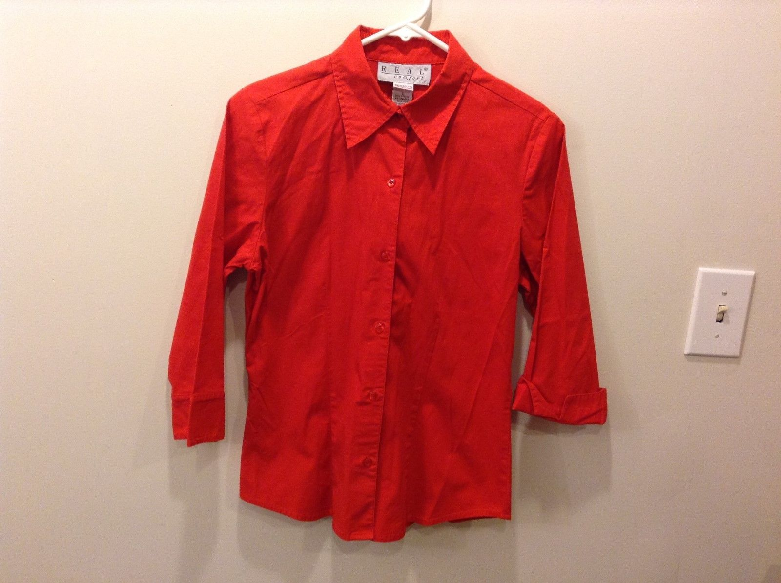 Women's REAL Comfort Bright Red 3/4 Sleeve Button Up Shirt Size S