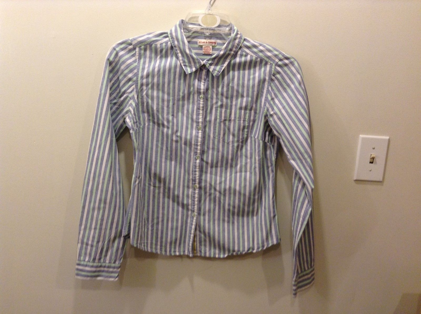 At Last & Company Vertical Multi-Striped Button Up Shirt Size Large