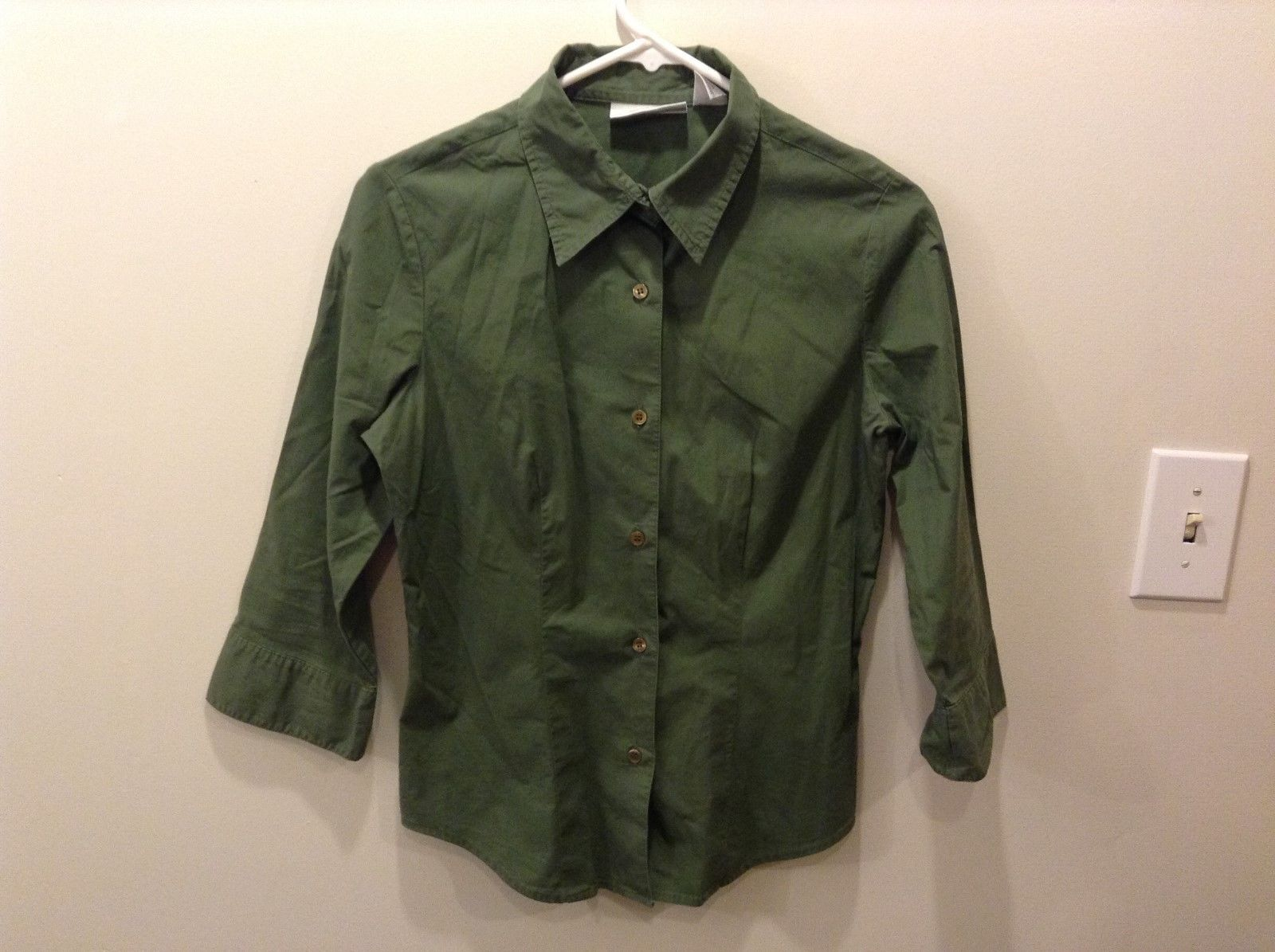 Women's Chadwick's Green 3/4 Sleeve Button Up Shirt Size Small