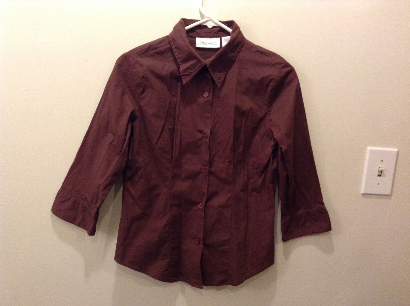 Chadwick's Maroon 3/4 Sleeve Button Up Shirt w/ Matching Buttons Size Small