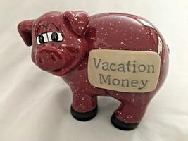 "Ceramic 5.5 X 7"" Red VACATION MONEY PIG Piggy Bank - $16.61"