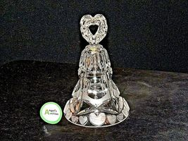 Heavy etched glass Bell with hearts AA19-LD11915 Vintage image 3