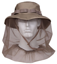 US MILITARY ARMY JUNGLE CAMPING BOONIE KHAKI TAN MOSQUITO NETTING NET SU... - $13.99