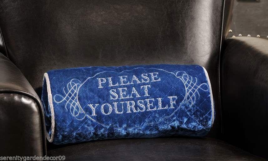 Home Theatre Oblong Poly Velvet Decorative Pillow Blue- PLEASE SEAT YOURSELF