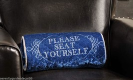 Home Theatre Oblong Poly Velvet Decorative Pillow Blue- PLEASE SEAT YOURSELF