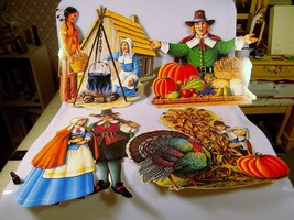 4 Vintage 1990 Beistle Thanksgiving Die Cut Pil... - $19.98