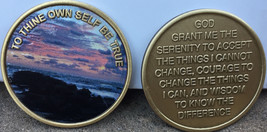 To Thine Own Self Be True Color Beach Sunrise Serenity Prayer Medallion AA Chip  - $13.99