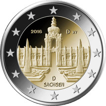 Germany 2016 Zwinger Palace in Dresden 2 euro coin 11th in Bundesländer ... - $4.20