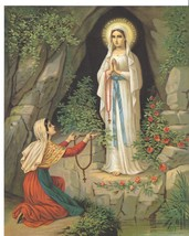 "Catholic Print Picture Mary - Our Lady of Lourdes & St. Bernadette 8x10"" - $14.01"