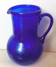 "Hand Blown Cobalt Blue Glass Pitcher  Mexico 7.5"" - $25.00"