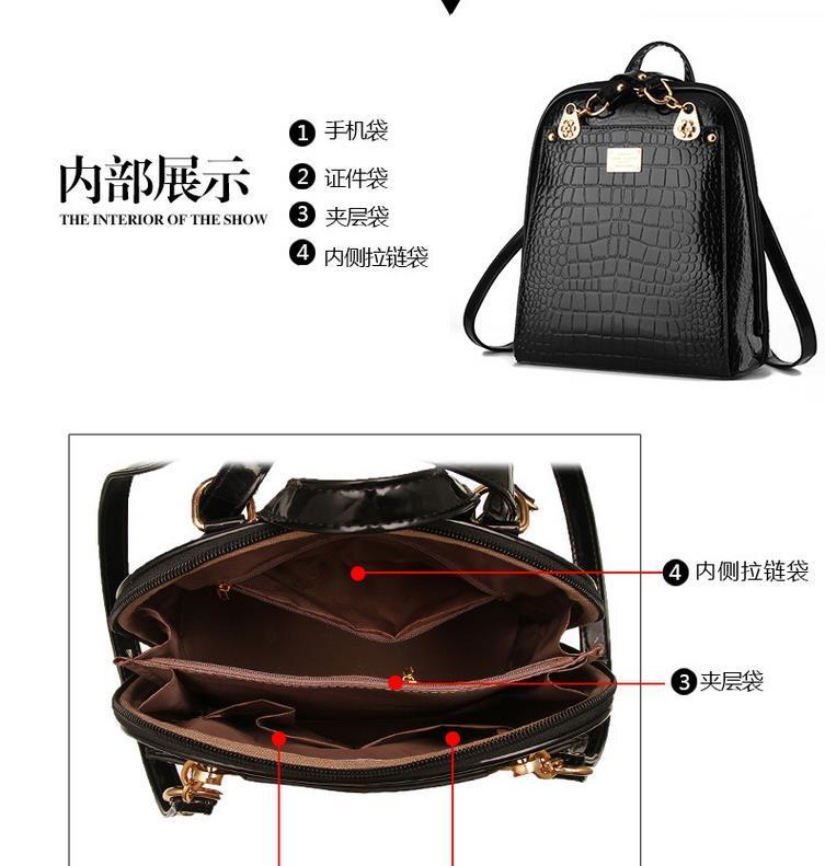 New Hot Crocodile Pattern Students Backpacks Leather Bookbags,K075-1 image 3
