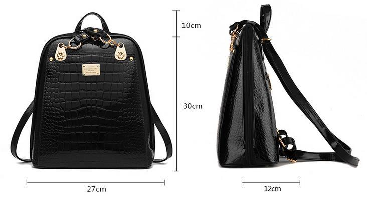 New Hot Crocodile Pattern Students Backpacks Leather Bookbags,K075-1 image 4
