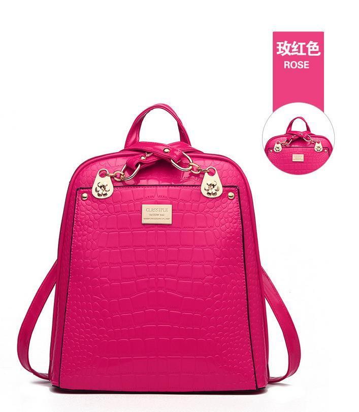 New Hot Crocodile Pattern Students Backpacks Leather Bookbags,K075-1 image 7