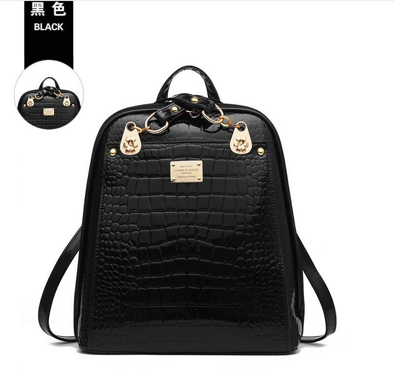 New Hot Crocodile Pattern Students Backpacks Leather Bookbags,K075-1 image 8