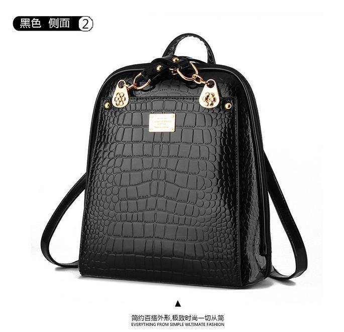 New Hot Crocodile Pattern Students Backpacks Leather Bookbags,K075-1 image 11