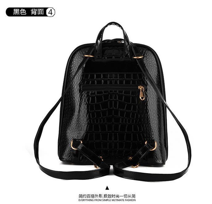 New Hot Crocodile Pattern Students Backpacks Leather Bookbags,K075-1 image 15