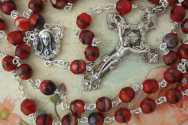 Catholic Rosary RUBY RED Multi Faceted Glass Beads Ornate Crucifix Cente... - $28.04