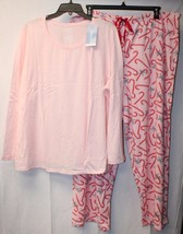 NEW JOCKEY WOMENS SIZE 3X PINK 2PC WINTER MICROFLEECE CANDYCANE PANTS PA... - $24.18