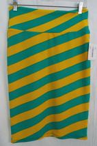LuLaRoe Cassie Skirt SMALL in Green & Yellow Diagonal Stripe NWOT - $36.17