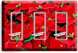 POINSETTIA HOLIDAY FLOWERS TRIPLE GFCI LIGHT SWITCH WALL PLATE COVER HOM... - $16.19