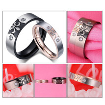 2Pcs Stainless Steel Couple Ring Promise Engagement Wedding Rings Jewelry - $326,22 MXN