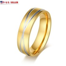 USA 6mm 18K Gold Plated Titanium Stainless Steel Criss Cross X Ring Prom... - $211,01 MXN