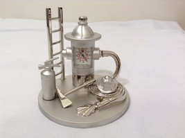 New Sanis Fire Equipment Table Clock Mate and Shiny Silver Color Metal Heavy