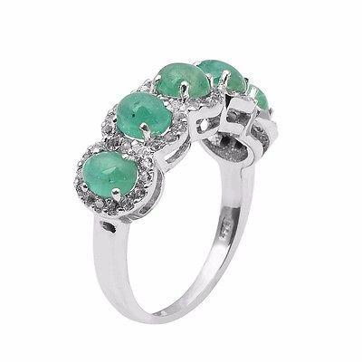 5 Emerald Gemstone Ring Solid 925 Sterling Silver Jewelry Ring Sz 7 SHRI0979