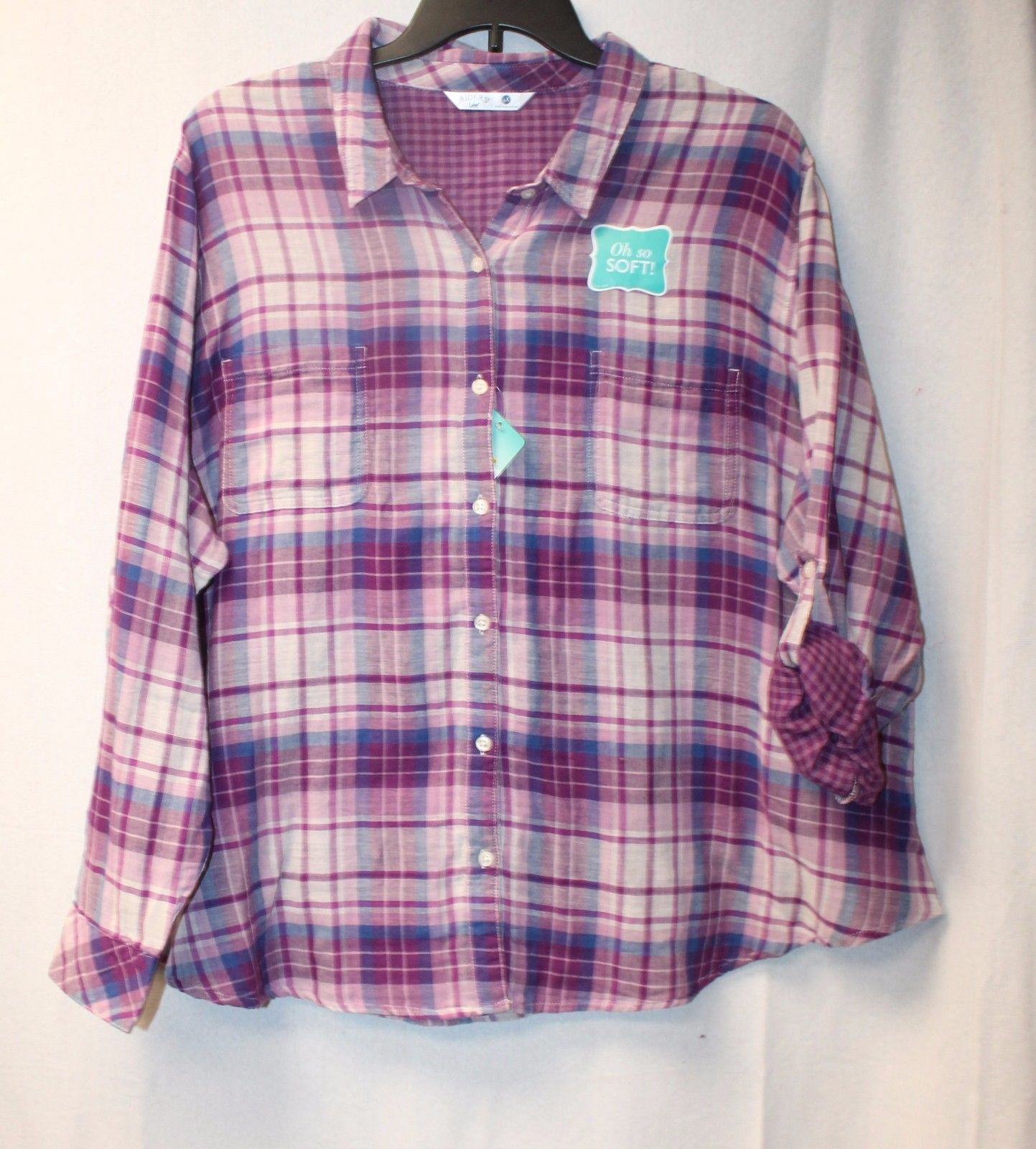 53e58e2f28a NEW LEE RIDERS WOMENS PLUS SIZE 4X PURPLE BLAKELY PLAID BUTTON UP DOWN  SHIRT TOP