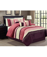 7-Pc Pleated Stripe Dots Lines Comforter Set Purple French Rose Pink Bei... - $81.79