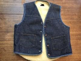 Vintage 70s Denim Faux Sherpa Vest Genunine Roebucks Metal Snap Front Sz M - $17.09
