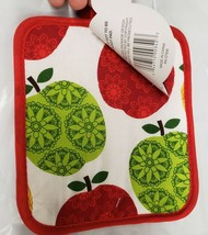 "Set of 2 Printed JUMBO Pot Holders, 7"" x 8"", COLORFUL APPLES, w/ red bac... - $7.91"