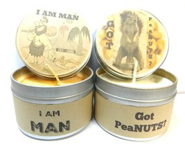 Got peaNuts & I Am Man Set of Two 4oz Soy Candle Tins - Approximate Burn... - $10.38