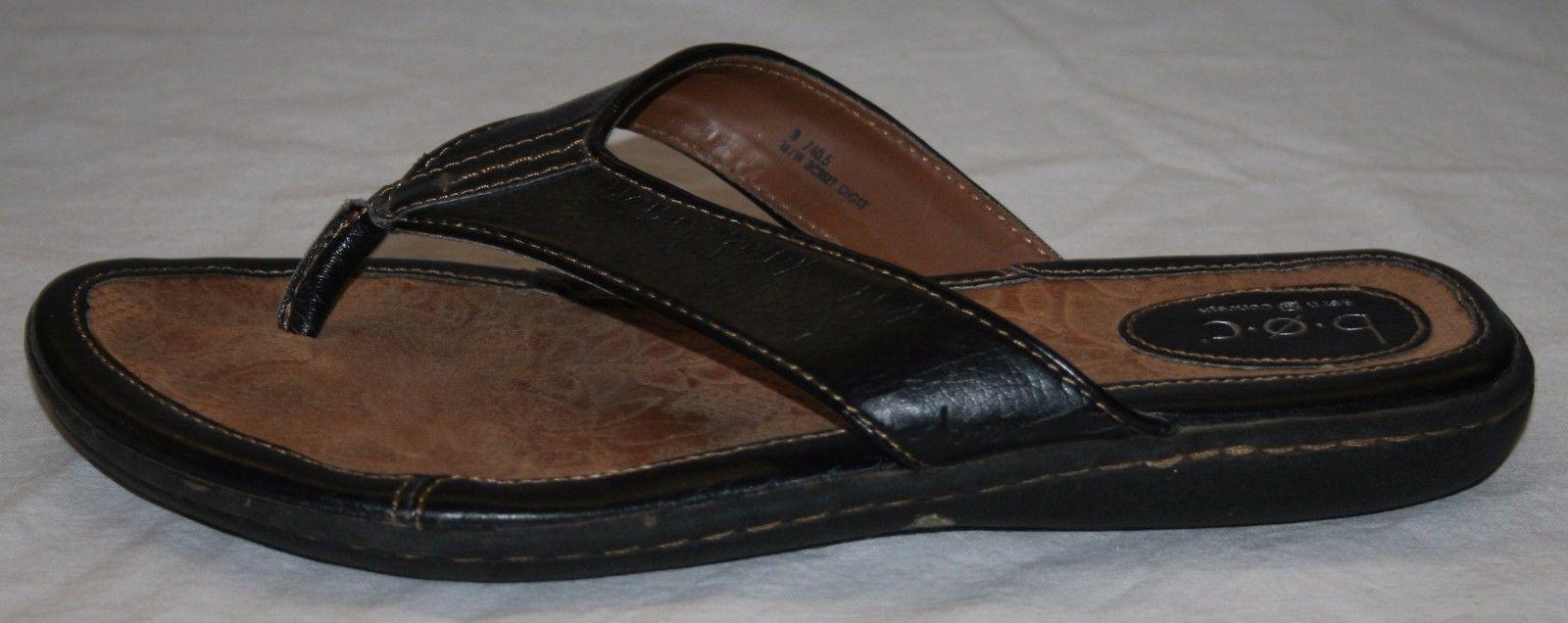 6a3ee8546b4 B.O.C. Born Concept BOC Black Leather Thong Flip Flops Womens Sandals 9 40.5