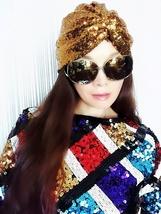 Golden Sequin Turban,Scarf,Womens Turban,Full Turban,Turban Headband,Turban Hat - $13.99