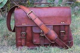 Leather computer bag men shoulder briefcase women mens laptop satchel brown bags image 5