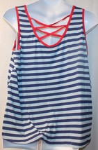 New Womens Plus Size 3X 2TONE Blue Striped Red Lattice Back Tank Top W Red Trim - $15.47