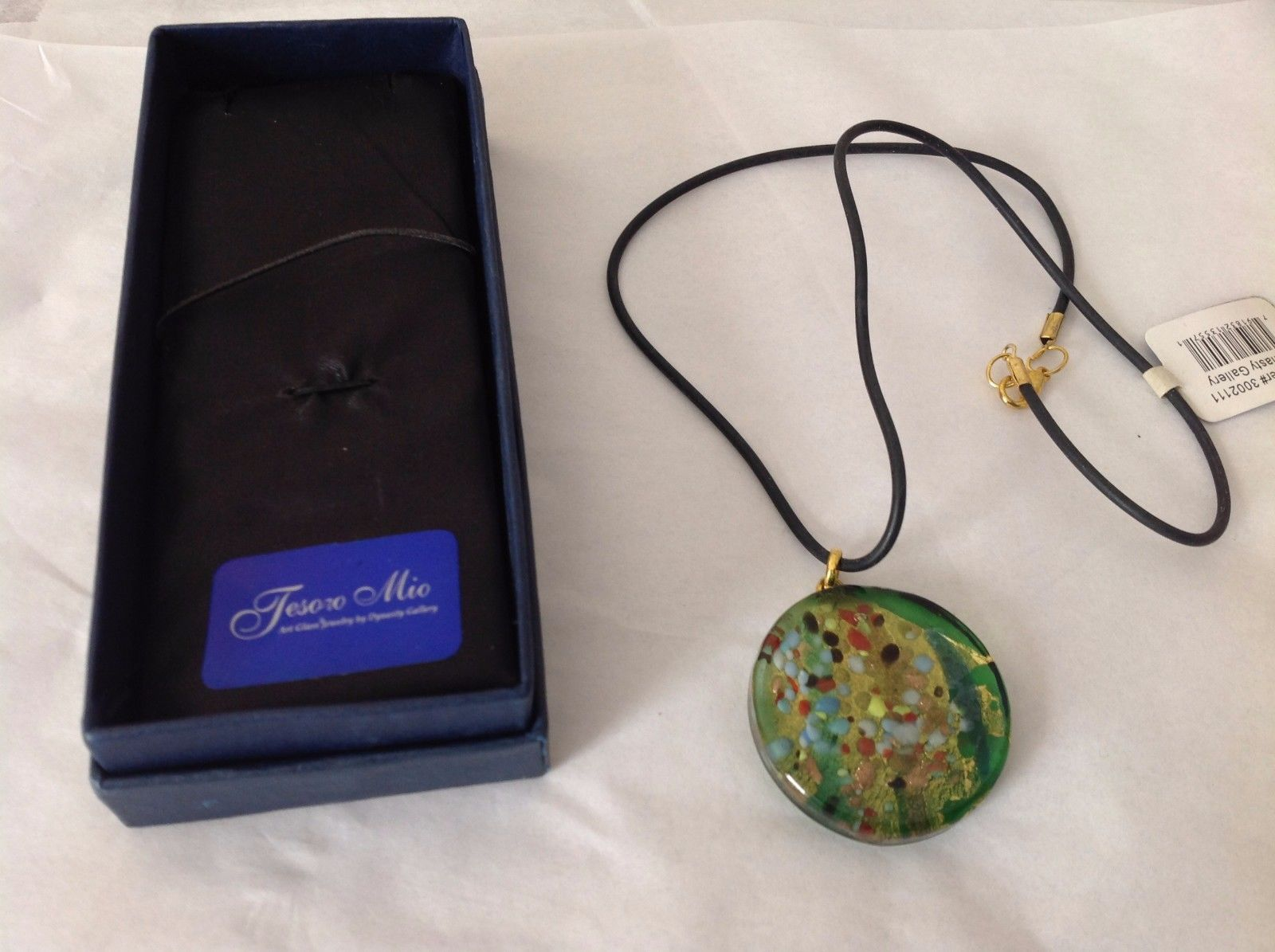 NEW Tesoro Mio Art Glass Jewelry Necklace Black Cord Sliding Pendant Multicolor