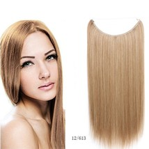 Flip in Bow Wire Invisible Hair Extensions Straight Hair Blond 55cm/21.6... - $14.98