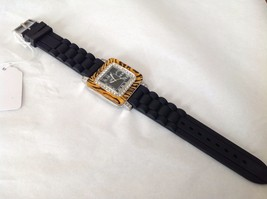 NEW Sanis Square Black Silicone Band Watch Swarovski Elements Tiger Pattern