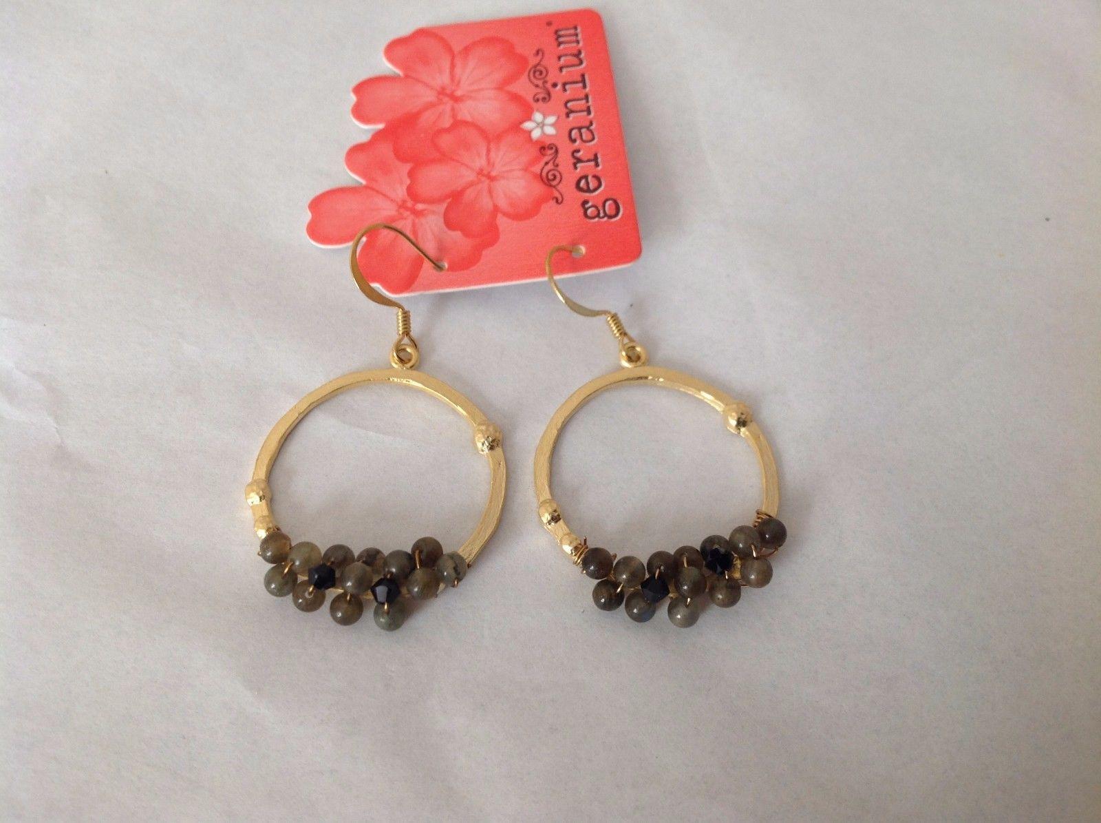 NEW Geranium Gold Toned Dangling Earrings Dark Gray Black Stones Ring Earrings