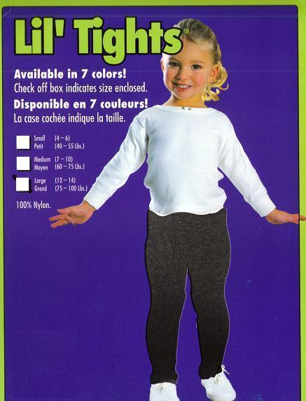 BLACK TIGHTS CHILD SZ LARGE 75-100 LBS., SZ 12-14