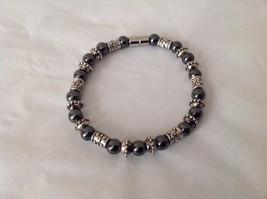 NEW Beaded Black Stone Silver Toned Magnetic Closure Bracelet Filigree Hematite
