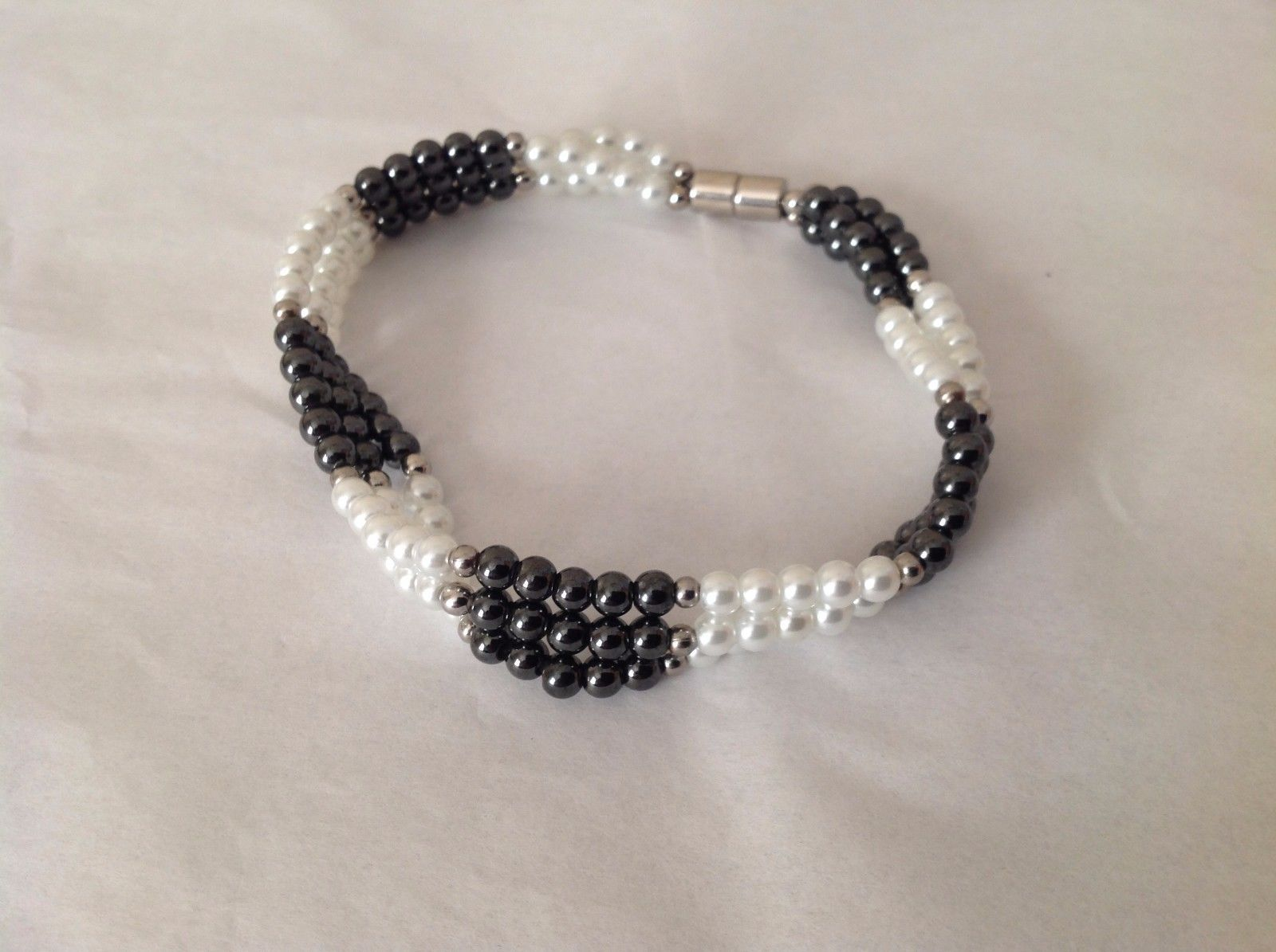 "NEW Beaded Multi Strand Black Stone Faux Pearl Bracelet Magnetic Closure 9"" long"