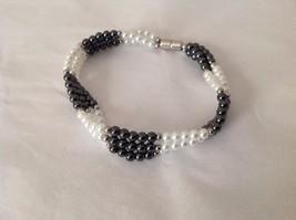 "NEW Beaded Multi Strand Black Stone Faux Pearl Bracelet Magnetic Closure 9"" long"