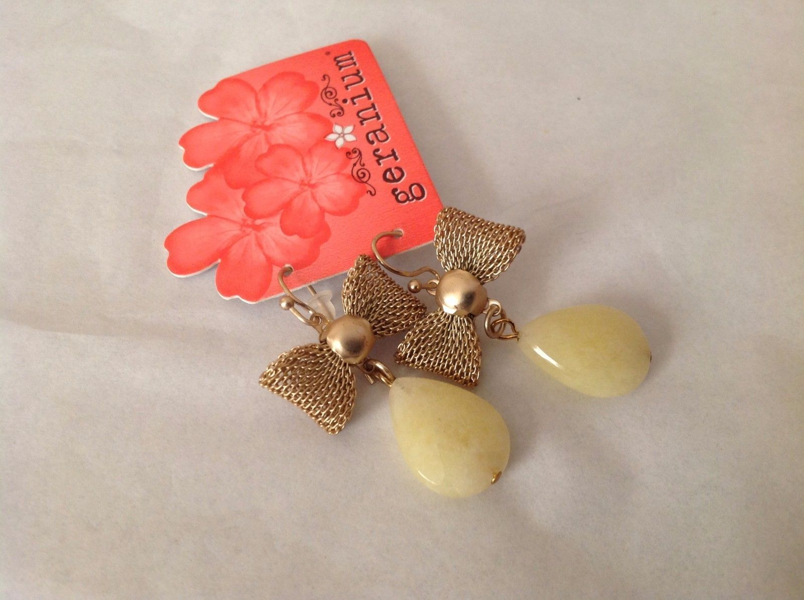 NEW Gold Toned Dangling Bow Tie Earrings Yellow Stone French Hook Geranium