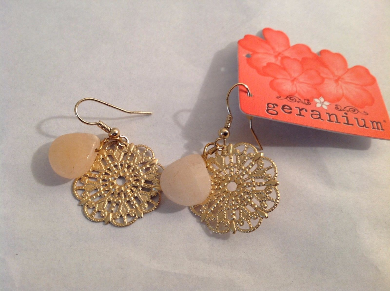 NEW Gold Toned Dangling Mandala Stone Earrings Geranium French Hook NWT